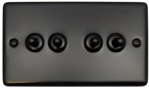 G&H CFB284 Standard Plate Matt Black 4 Gang 1 or 2 Way Toggle Light Switch